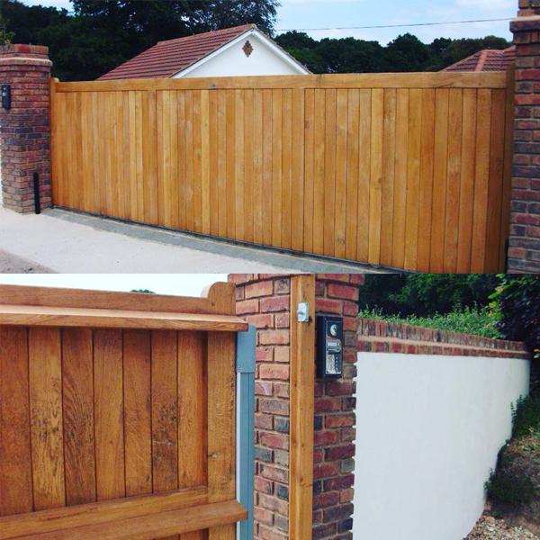 Automatic wooden gates in Devon